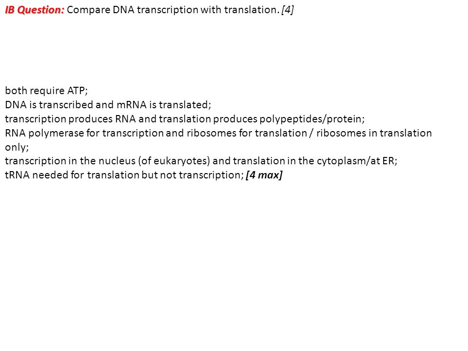 IB Question: Compare DNA transcription with translation. [4]